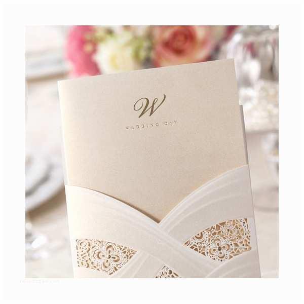Foil Stamped Wedding Invitations Elegant Foil Stamped Laser Cut Ivory Pocket Wedding