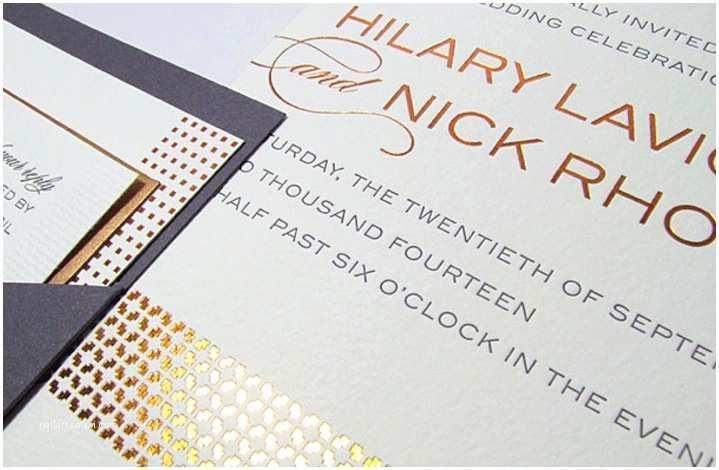 Foil Stamped Wedding Invitations Elegant Wedding Invitations Rose Gold Foil Stamped