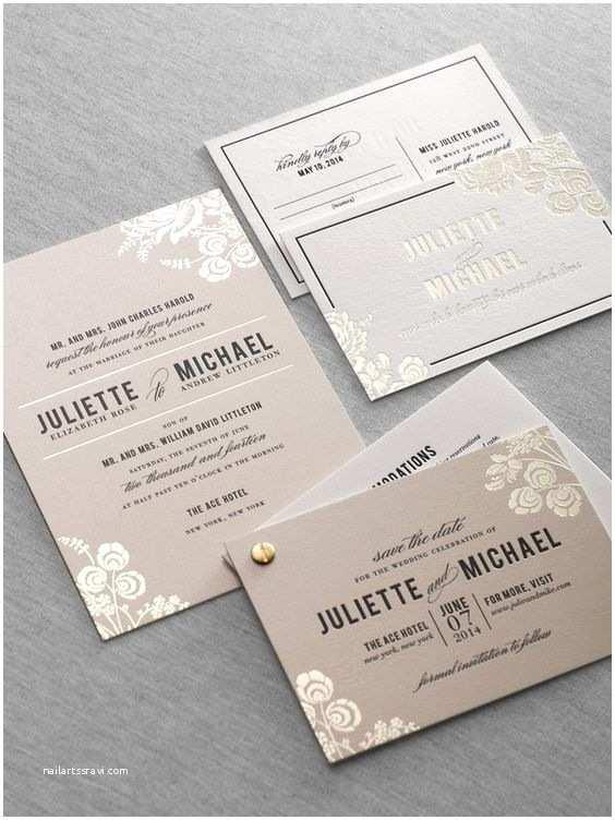 Foil Stamped Wedding Invitations Foil Stamped Letterpress Wedding Invitation by Dauphine