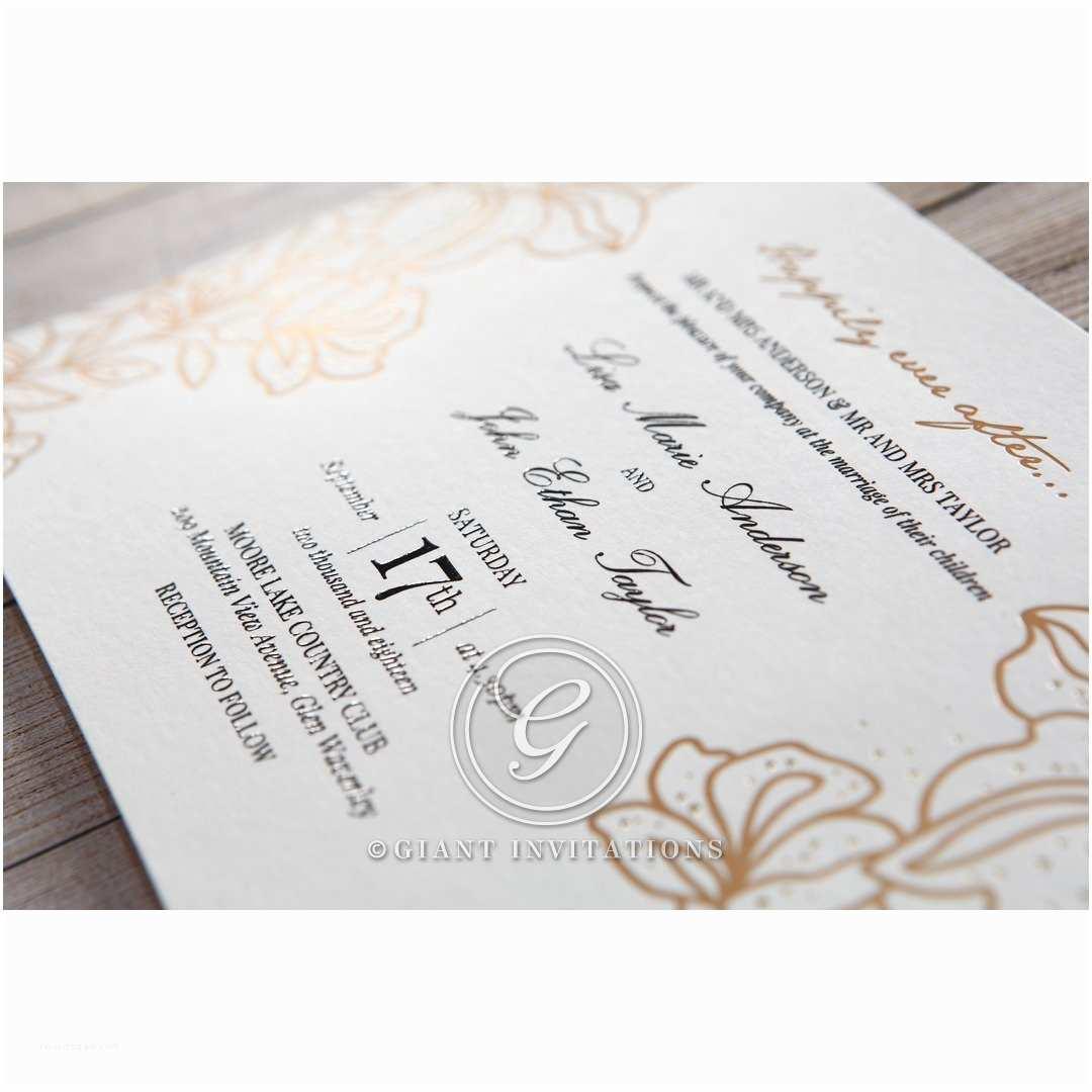 Foil Stamped Wedding Invitations Gold Foil Stamped Lillies Wedding Invitations