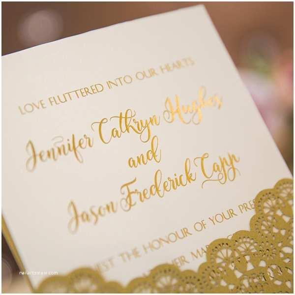 Foil Stamped Wedding Invitations Modern Rose Gold Glittery Pocket Wedding Invitations with
