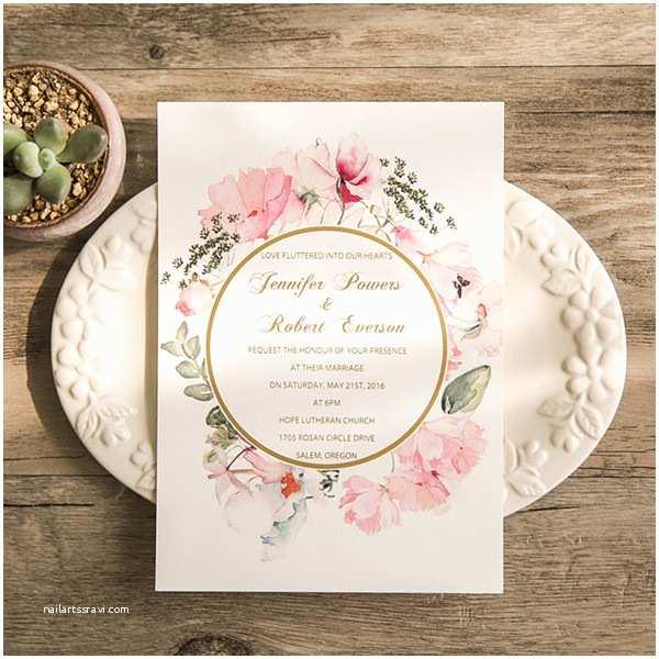 Foil Stamped Wedding Invitations Romantic Boho Floral Gold Foil Stamped Wedding Invitations