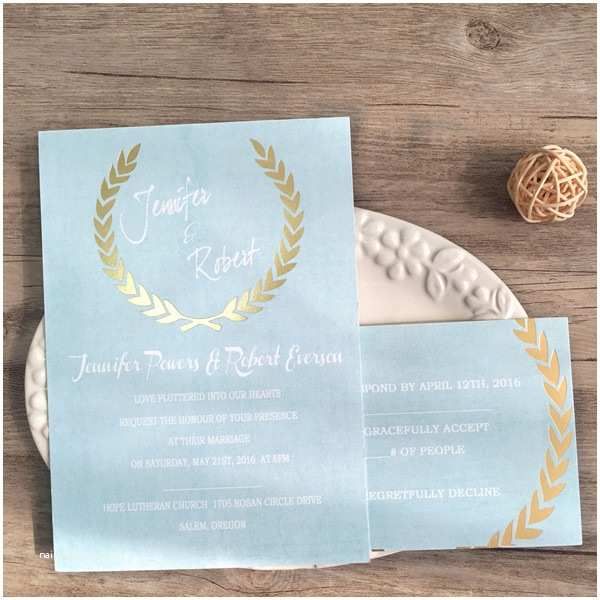 Foil Stamped Wedding Invitations Shades Of Blue Green Foil Stamped Leave Invitations