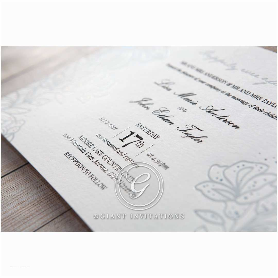 Foil Stamped Wedding Invitations Silver Foil Stamped Lillies Wedding Invitations