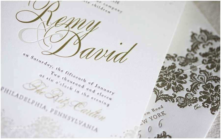 Foil Stamped Wedding Invitations White and Gold White and Gold Wedding Invitations