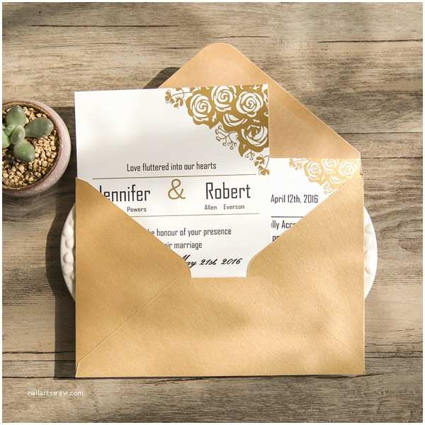 Foil Wedding Invitations Cheap Affordable Traditional Gold Foil Floral Wedding Invitation