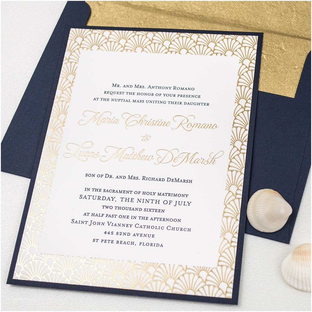 Foil Wedding Invitations Cheap Elegant Letterpress Foil Beach Wedding Invitations with