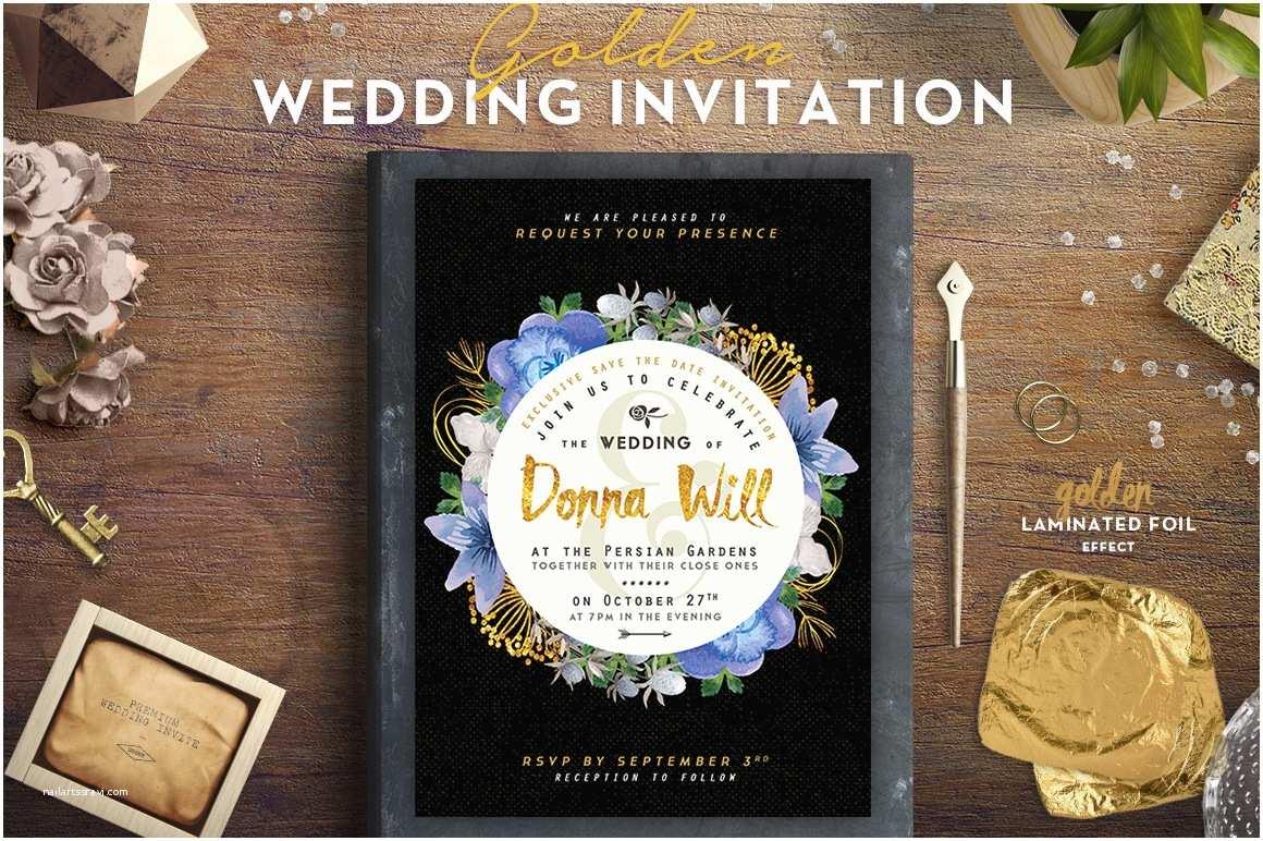 Foil Wedding Invitations Cheap Golden Foil Wedding Invitation Iii Graphic by Lavie1blonde