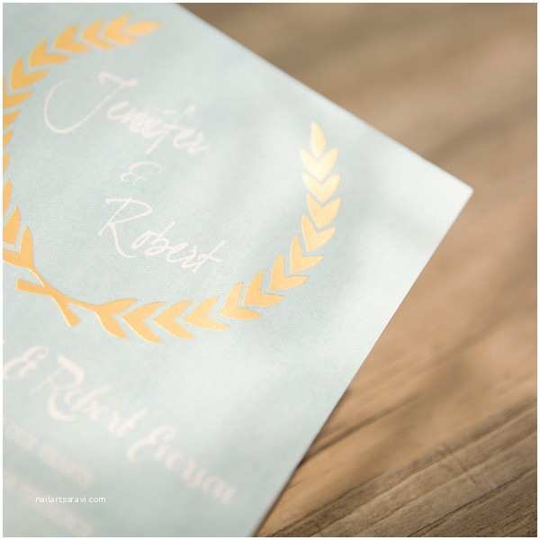 shades of blue green foil stamped leave invitations ewfi010