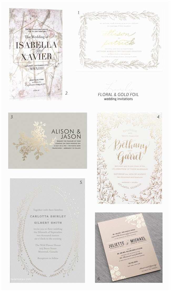 Foil Wedding Invitations Floral and Gold Foil Wedding Invitation Ideas Invitation