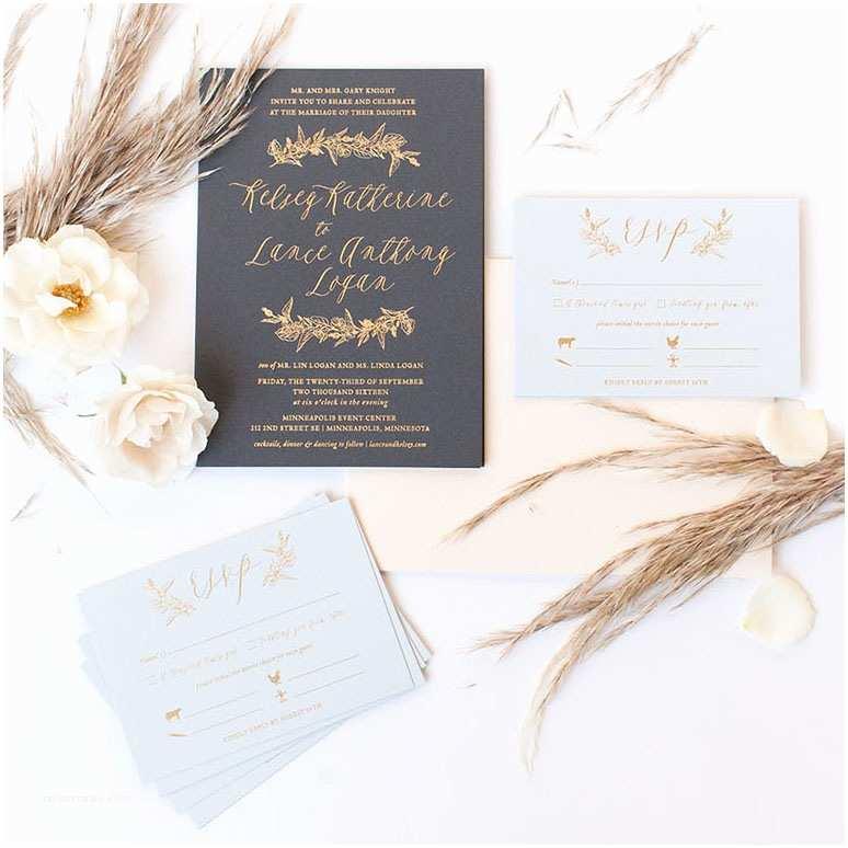 Foil Wedding Invitations Foil Greenery Invitations Paper Rock Scissor