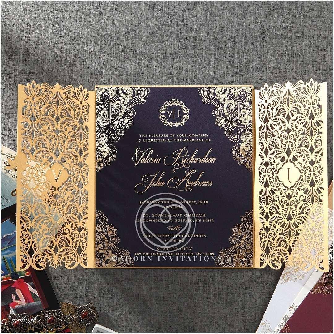 Foil Wedding Invitations Gold Foil W Navy Elegant Glamorous Wedding Invitation