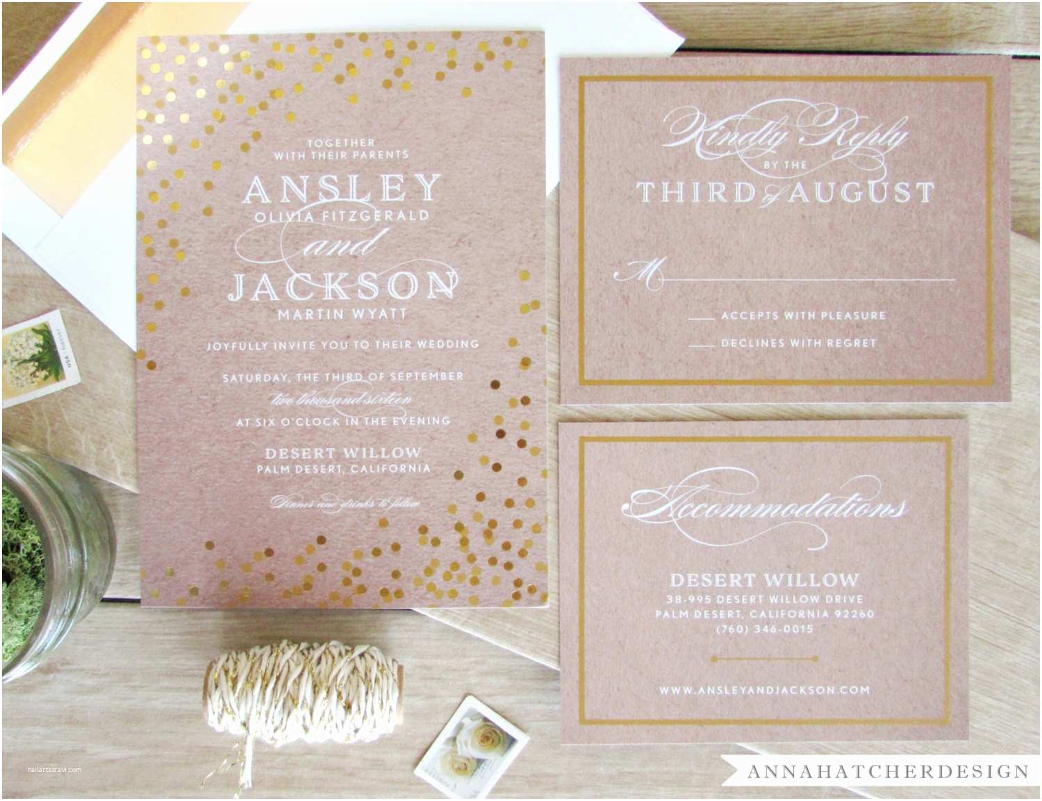 Foil Wedding Invitations Gold Foil Wedding Invitation with Matching Reply and Enclosure