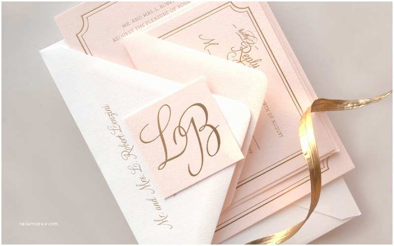 Foil Wedding Invitations Lindsey Bradley S Elegant Pink and Gold Foil Wedding