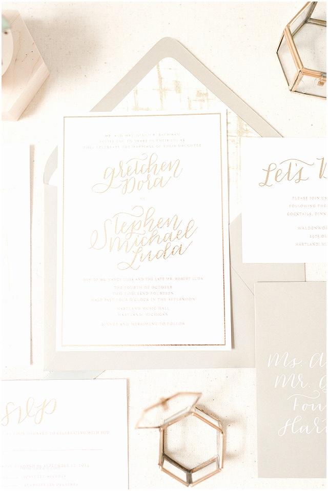 Foil Wedding Invitations Romantic Gold Foil Wedding Invitations