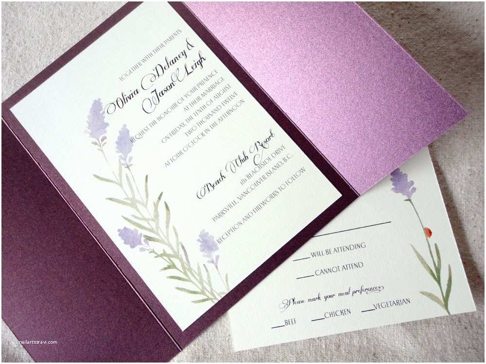 Fold Out Wedding Invitations 1 Sample Lavender Gate Fold Wedding Invitation