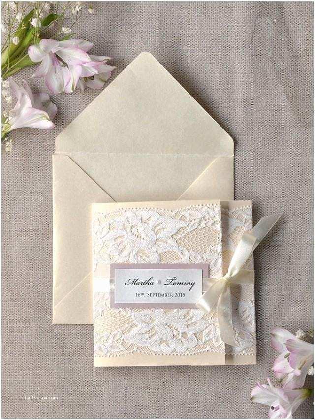 Folded Wedding Invitations Ivory Lace Wedding Invitation Pink Wedding Invitation
