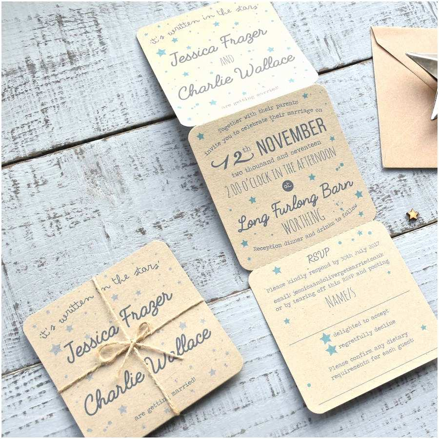 Folded Wedding Invitations Star Tri Folded Recycled Wedding Invitation by Paper and