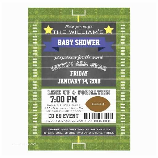 Football Baby Shower Invitations Couples Co Ed Football Baby Shower Blue Invites