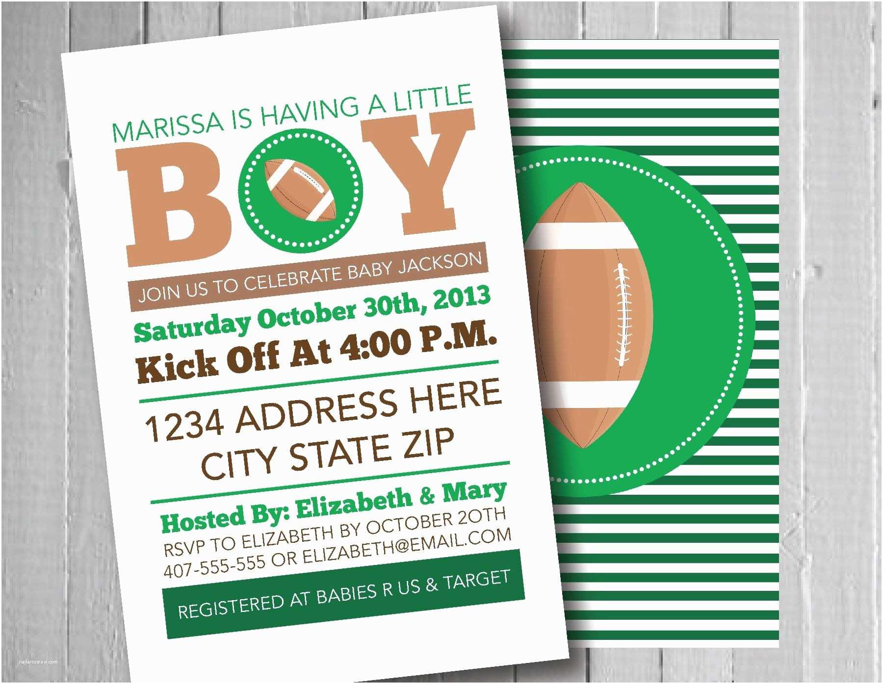 Football Baby Shower Invitations Football Baby Shower Invitation Sports theme