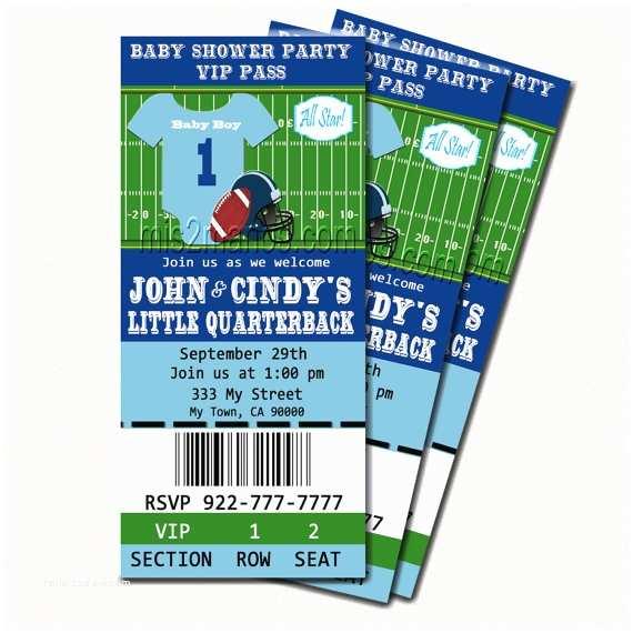 Football Baby Shower Invitations Football Baby Shower Printable Ticket Invitations Printable