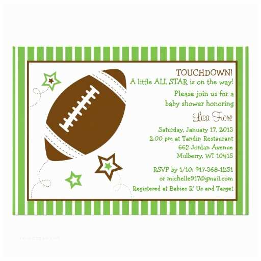 Football Baby Shower Invitations Personalized Football Baby Shower Invitations