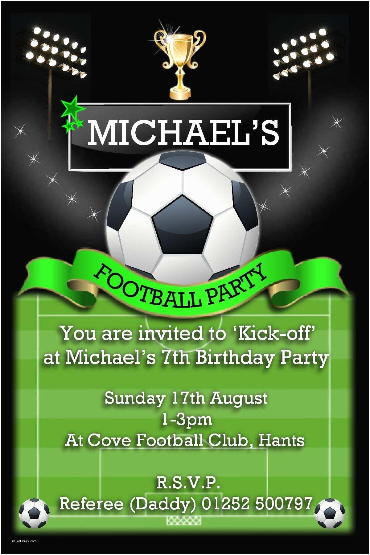 Football Birthday Invitations 10 Personalised Football Birthday Party Invitations N108