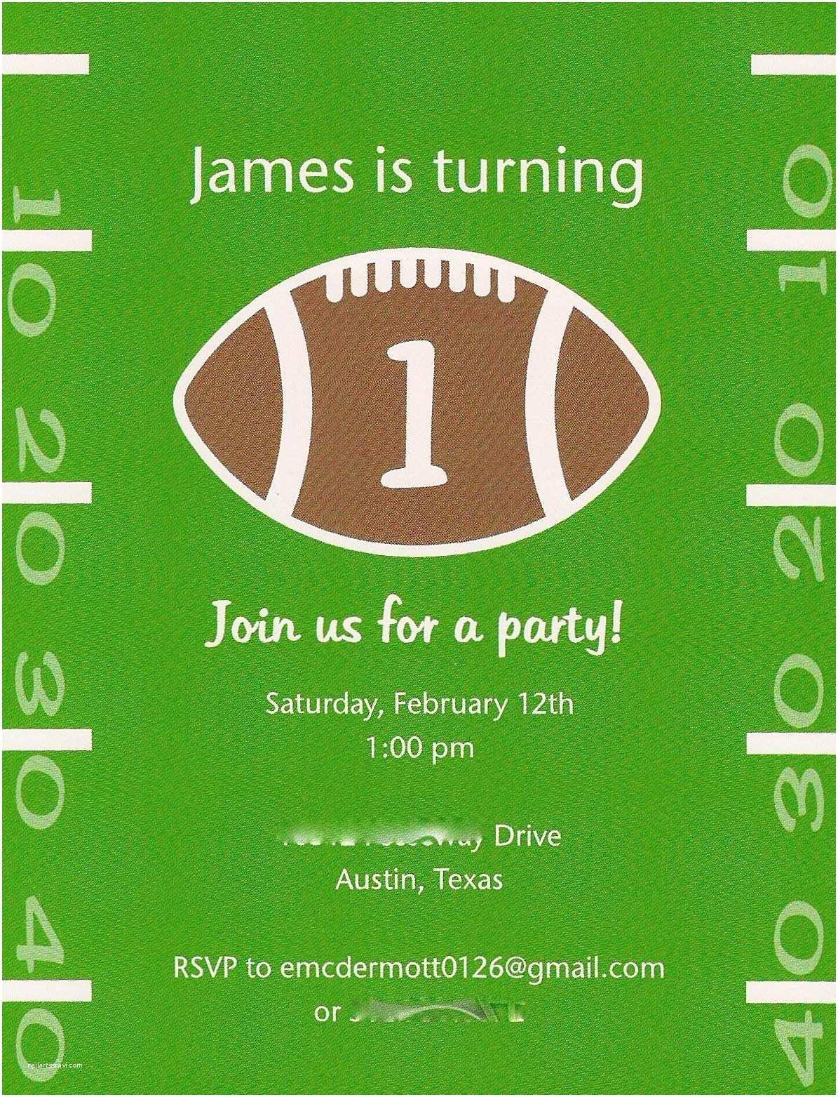 Football Birthday Invitations Birthday Party Football theme