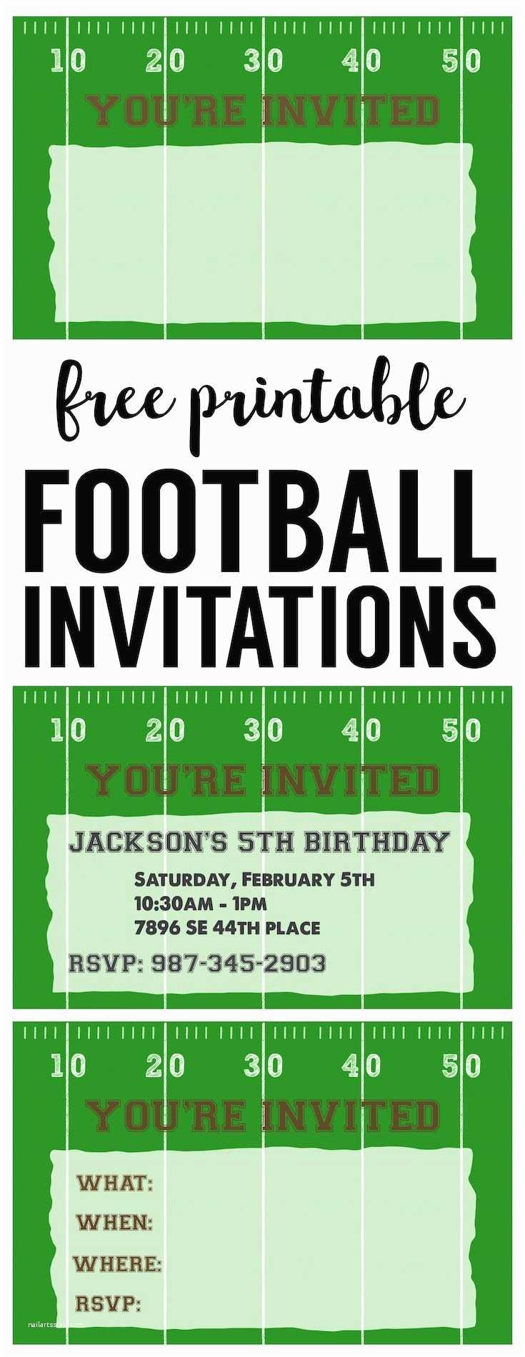 Football Birthday Invitations Football Party Invitation Template Free Printable