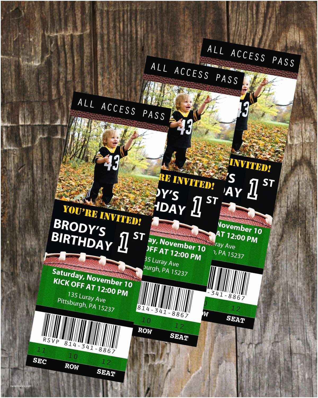 Football Birthday Invitations Football Ticket Birthday Invitation Printable