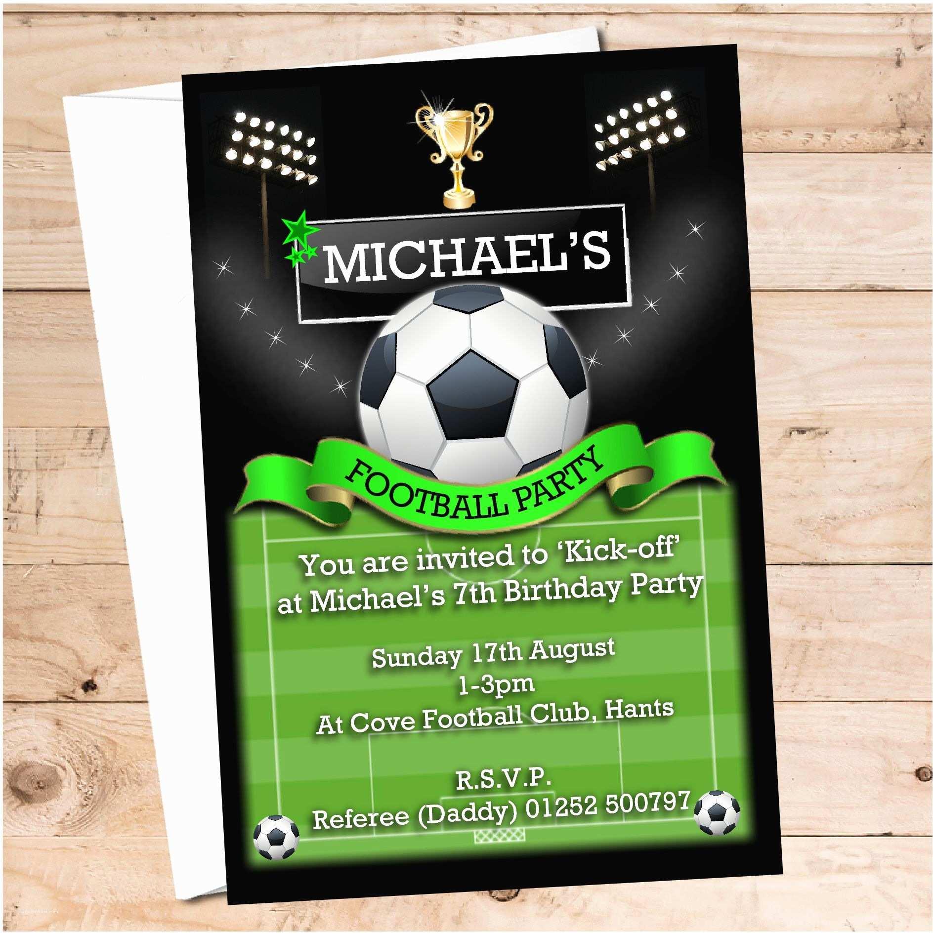 Football Birthday Party Invitations 10 Personalised Football Birthday Party Invitations N108