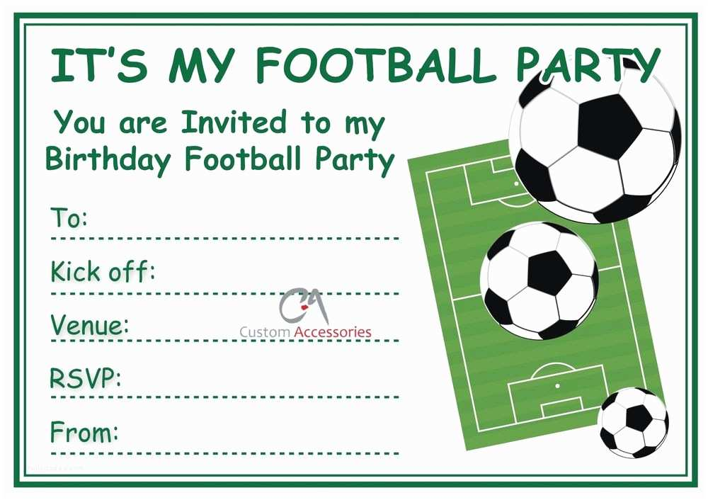 Football Birthday Party Invitations Football Invites Kids Children S Boys Football Birthday