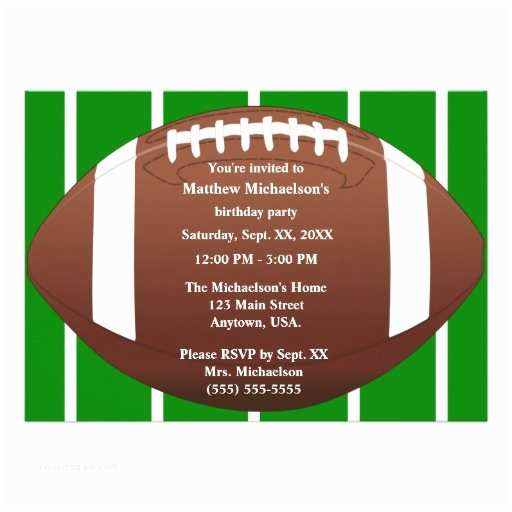 Football Birthday Party Invitations Football with Green Football Field Birthday Party 5x7