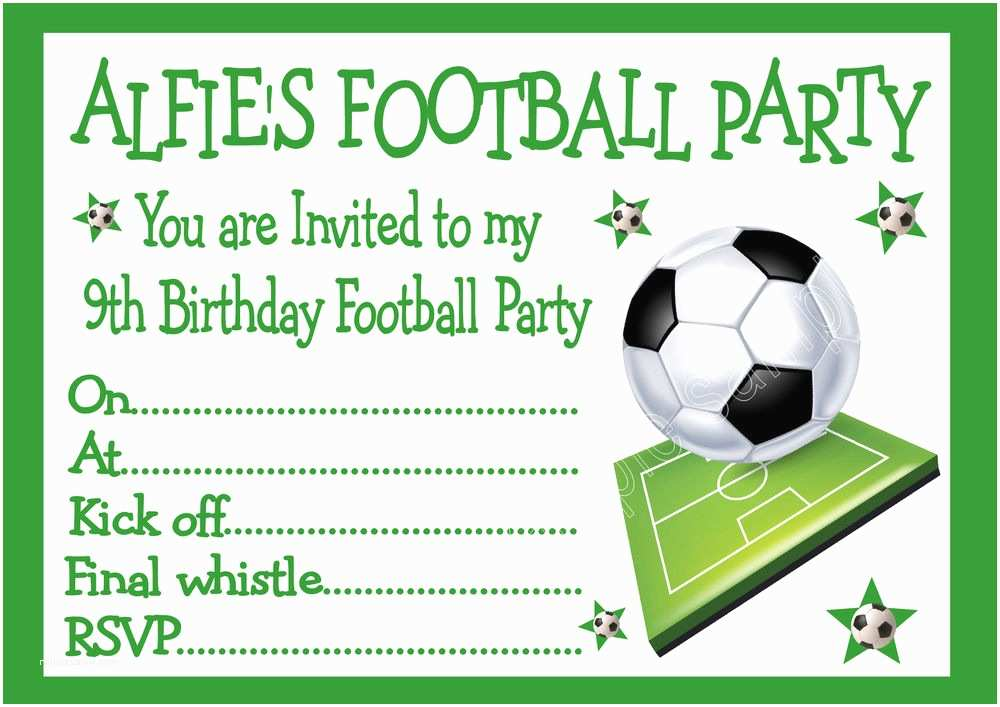 Football Birthday Party Invitations Personalised Invites Childrens Boys Football Birthday