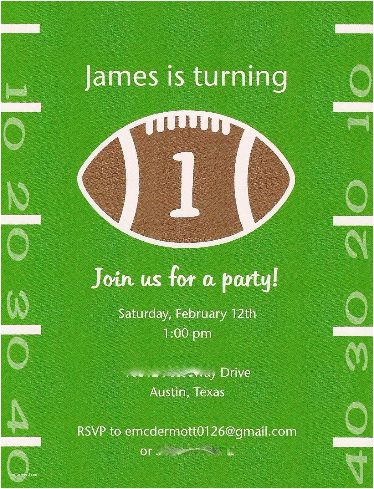 Football Party Invitations Templates Free Baby Mcdermott First Birthday Party The