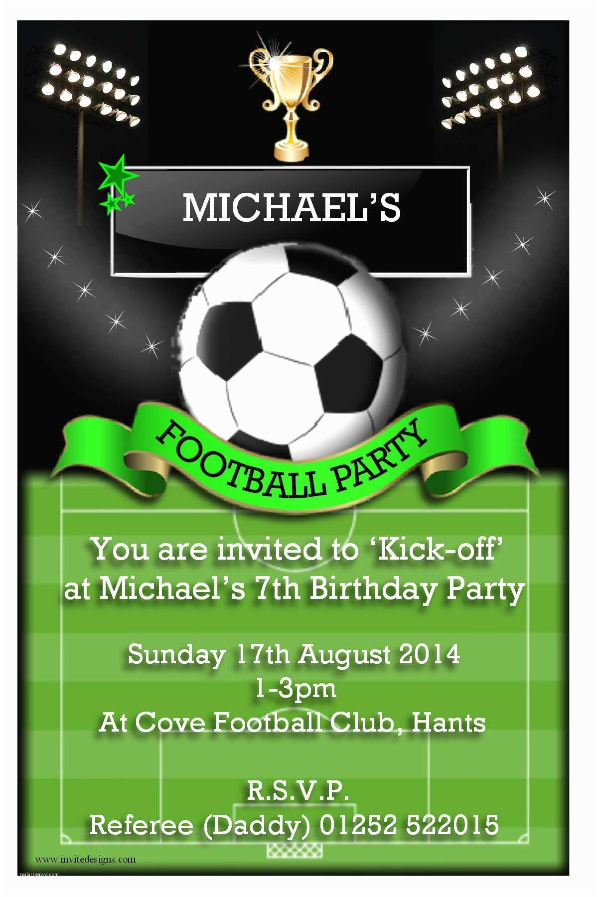 Football  Invitations Templates Free Birthday Invites Awesome Birthday Soccer