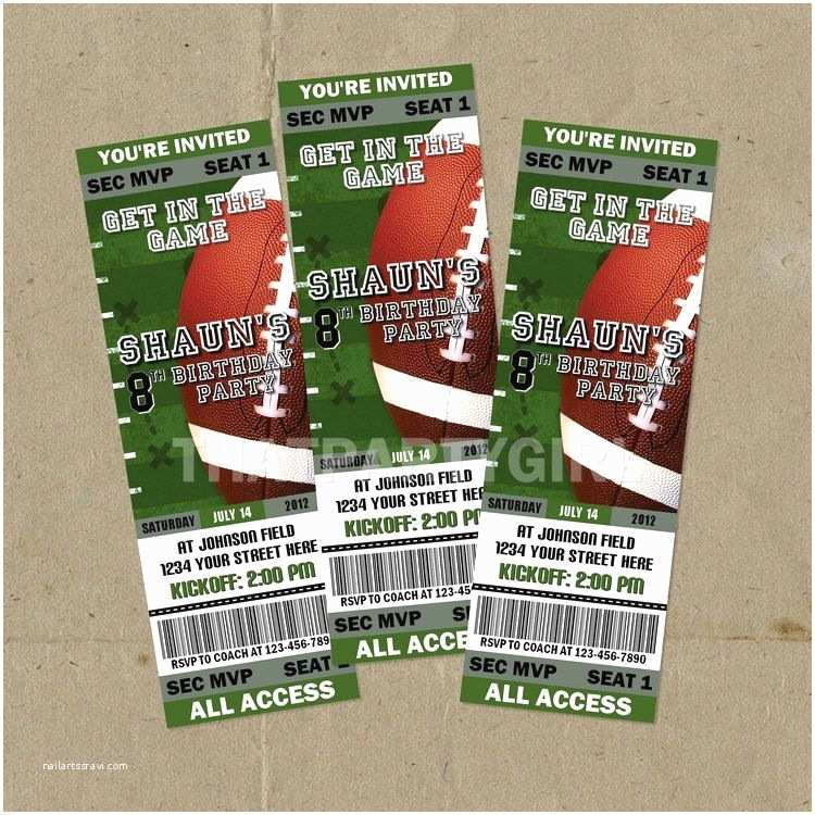 Football Party Invitations Templates Free Diy Football Birthday Party Ticket Style By