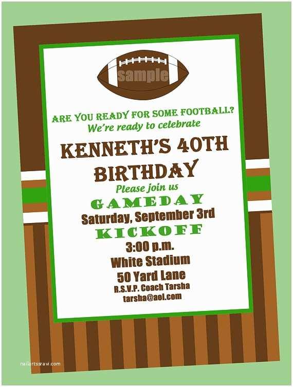 Football Party Invitations Templates Free Football Birthday Party Invitation Printable Or Printed