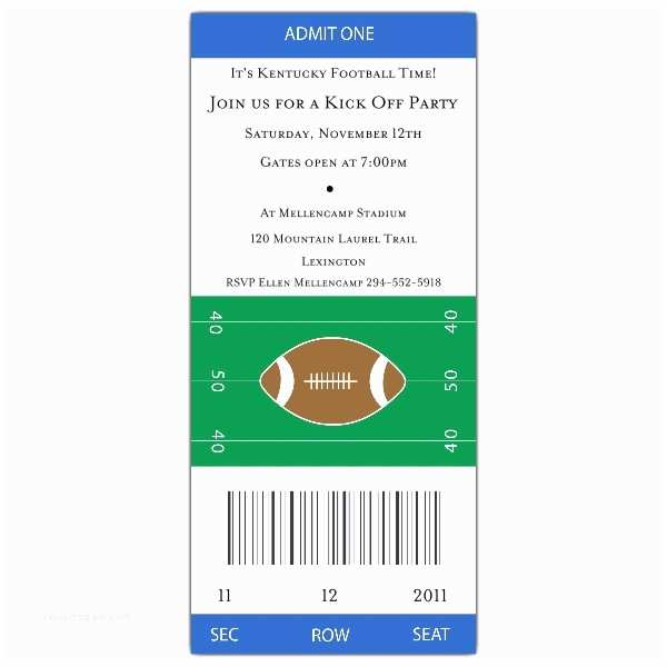 Football Party  Templates Free Football Ticket Grey Red