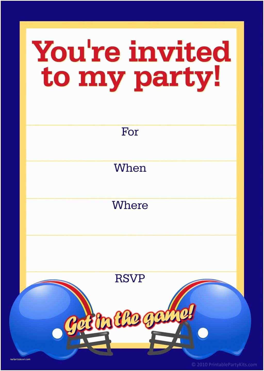 Football Party Invitations Templates Free Free Printable Sports Birthday Party Invitations Templates
