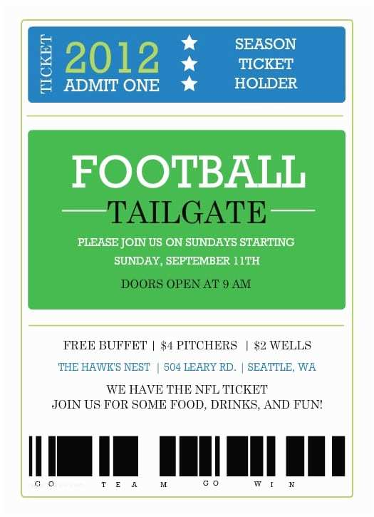Football Party Invitations Templates Free Printable Ticket Invitation Template