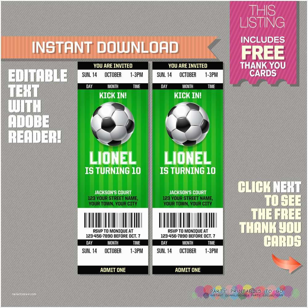 Football Party Invitations Templates Free  Ticket Invitation With Free Thank You Card