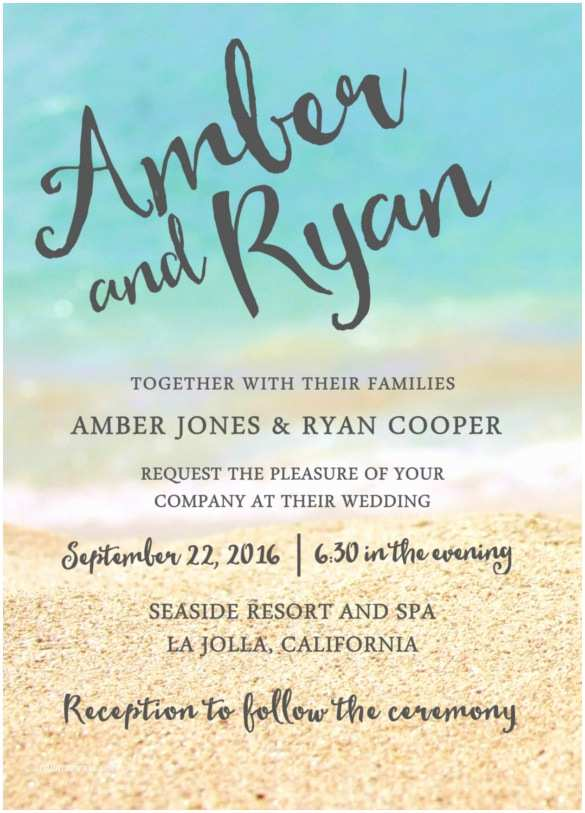 Formal Beach Wedding Invitations 28 Wedding Reception Invitation Templates Free Sample