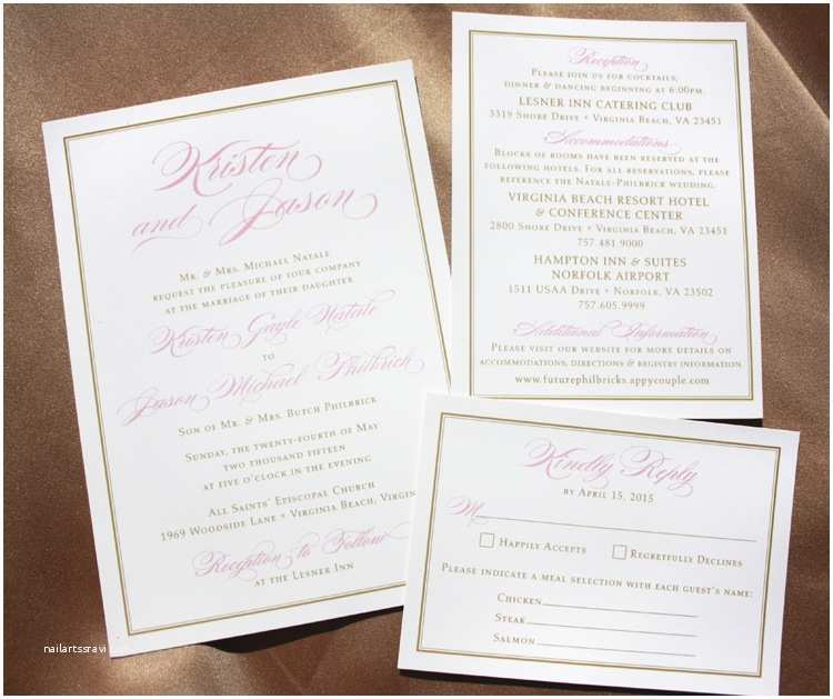 Formal Beach Wedding Invitations Blush Pink Script Names Gold Border formal Weddi