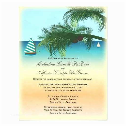 Formal Beach Wedding Invitations Retro Beach Scene formal Wedding Invite