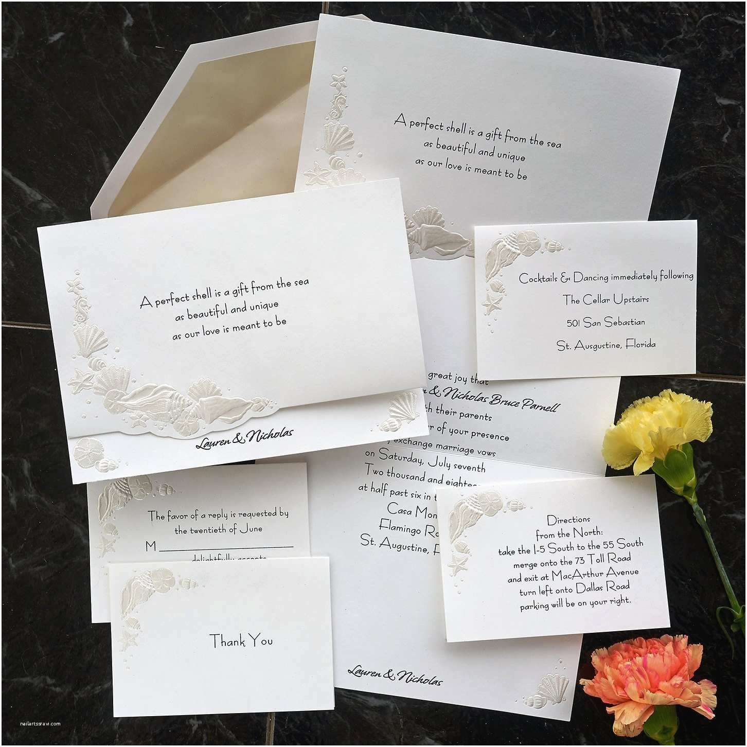 Formal Beach Wedding Invitations Romantic Shells Beach themed Wedding Invitation Set formal