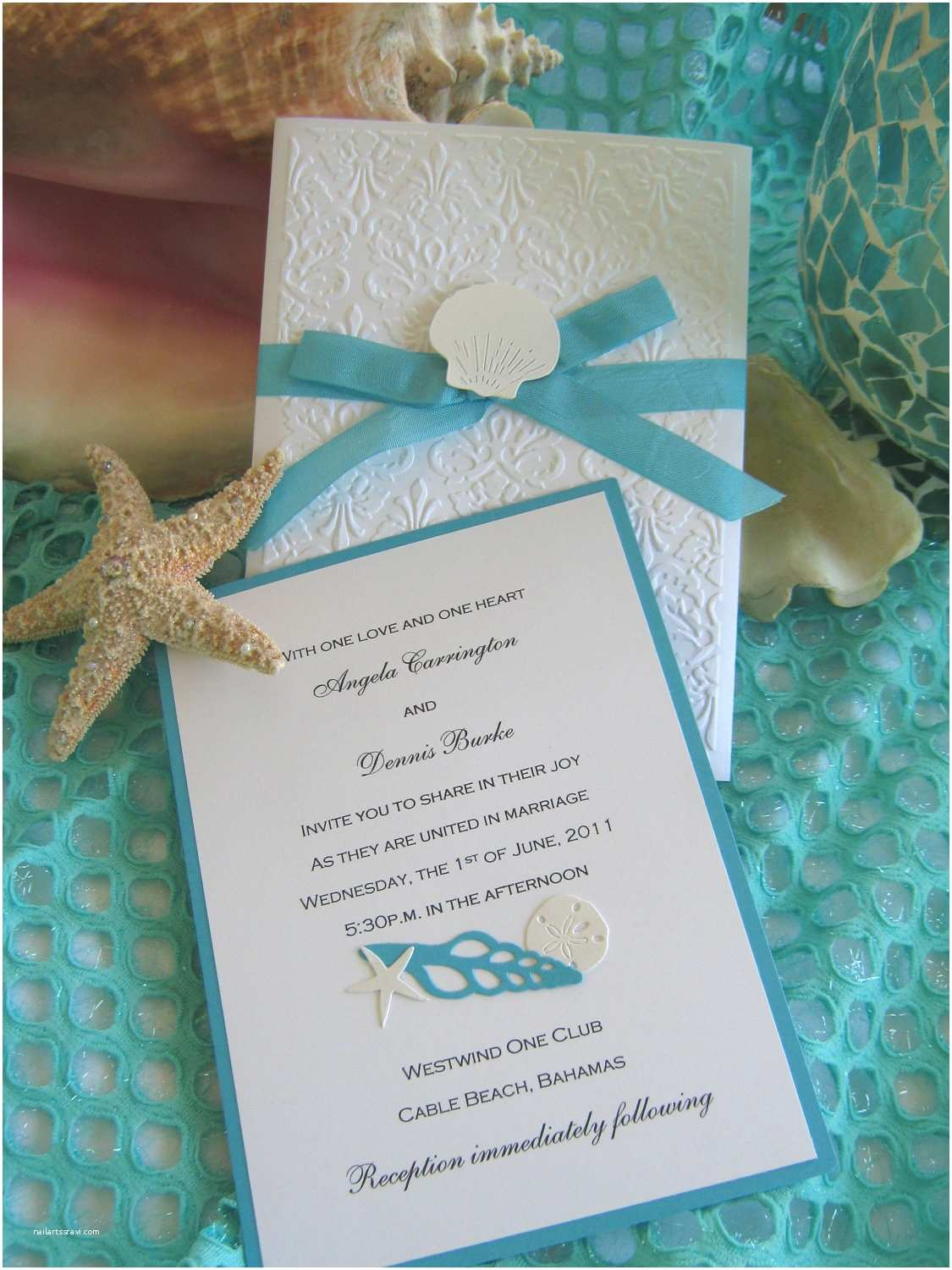 Formal Beach Wedding Invitations Seashell and Lace Beach Wedding Invitation