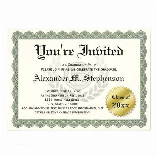 Formal Graduation Invitations formal Certificate Graduation Party Fun Invitation