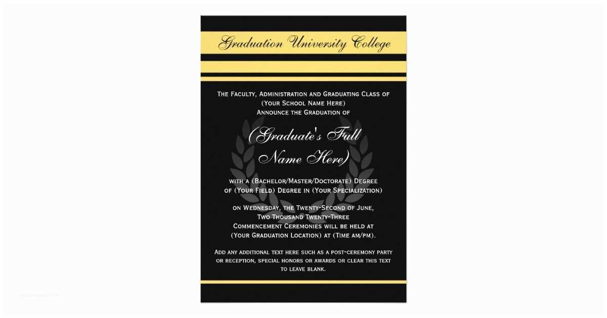 Formal Graduation Invitations formal College Graduation Announcements Black