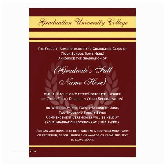 Formal Graduation Invitations formal College Graduation Announcements Maroon